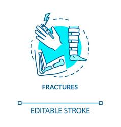 Fracture bone fragility trauma concept icon vector