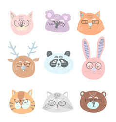 funny cute animals in glasses face vector image