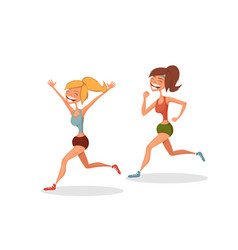 funny running girls vector image