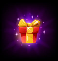 Gift box game interface icon on black background vector