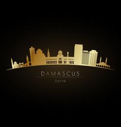 Golden logo damascus skyline silhouette vector