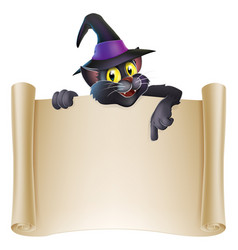 halloween cat scroll sign vector image