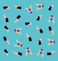 hand using smartphone pattern vector image