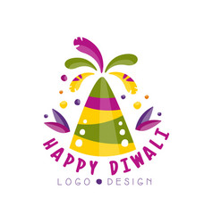 happy diwali logo design festival of lights vector image