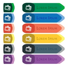 Id card icon sign Set of colorful bright long vector image