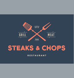 Label of restaurant with grill symbols vector