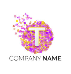 Letter t logo with purle particles and bubble dots vector