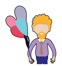 Man with beard and balloons in the hand vector