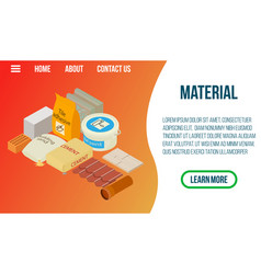 Material concept banner isometric style vector