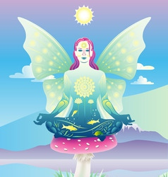Meditating fairy vector