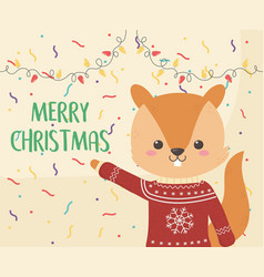merry christmas celebration cute squirrel with vector image