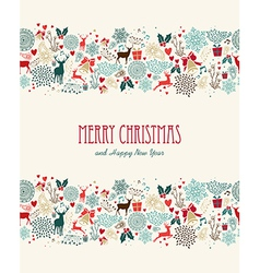 Merry Christmas vintage seamless pattern vector