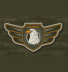 Military air force winged colorful badge vector