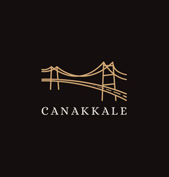 Minimalist canakkale bridge logo icon vector
