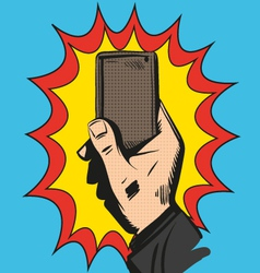Mobile phone rings in hand Comic book vector image