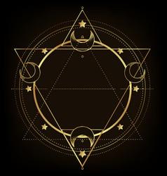 Moon frame sacred geometry ayurveda symbol of vector