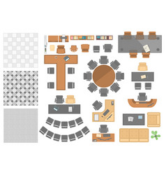 Office workplace elements - set of modern vector