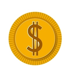One dollar coin isolated icon design vector