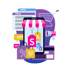 online shopping via smartphone vector image