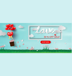 paper art and craft of valentines day website vector image