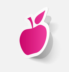 Paper clipped sticker apple fruit vector
