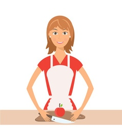 Pretty woman on kitchen vector