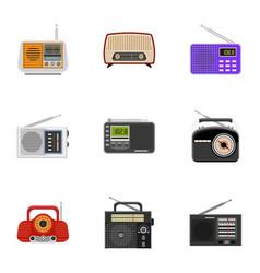 Radio tuner icon set flat style vector