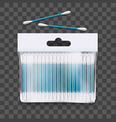 realistic 3d detailed cotton buds package vector image