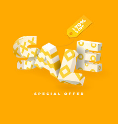 sale 3d sign yellow invert vector image