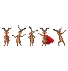 set cartoons deers in different poses reindeers vector image