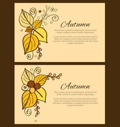 set of autumn poster yellow orange leaves decor vector image