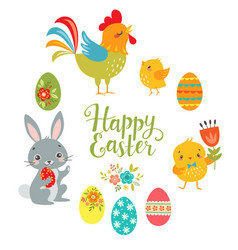 Set of cute easter design elements vector