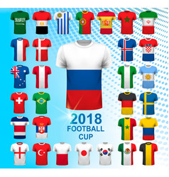 Set of football jerseys for 2018 soccer vector
