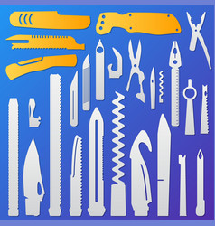 Set of multifunction knife elements pocket knife vector