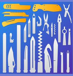 Set of multifunction knife elements pocket knife vector