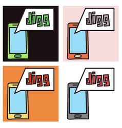 set of unusual look web icon of modern social vector image