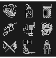 Set of white line icons for paintball vector image