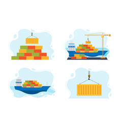 Set sea freight transport vector