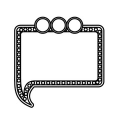 Silhouette rectangle chat bubble with circles icon vector