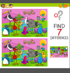 Spot differences game with birds characters vector