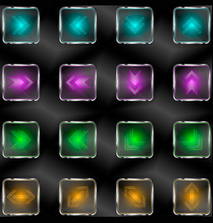 Squares with neon lights and arrow symbols vector