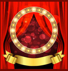stage with circle light bulbs and ribbon vector image