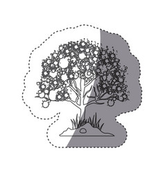 sticker silhouette leafy tree with ramifications vector image