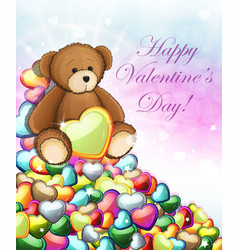 teddy bear with hearts vector image