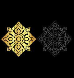 thai art style ornament black color and out line vector image