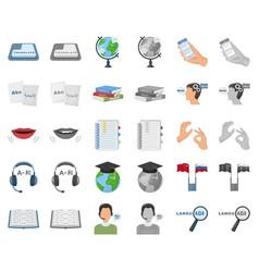 Translator and linguist cartoonmonochrom icons in vector