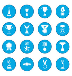 trophy and awards icon blue vector image vector image