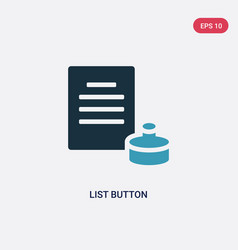 two color list button icon from user interface vector image