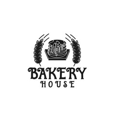 vintage cupcake and wheat bakery logo inspiration vector image