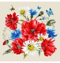 Vintage watercolor bouquet wildflowers poppies vector